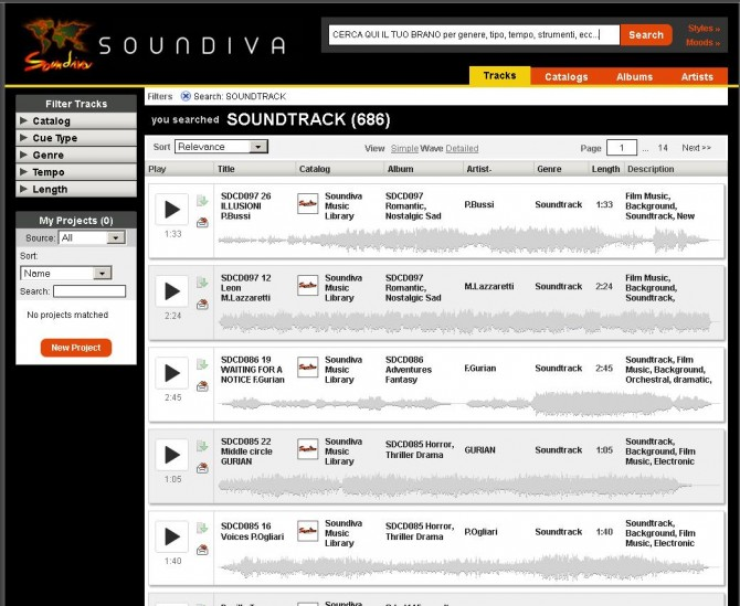 SEARCH ENGINE (sistema di ricerca on line) - SOUNDIVA (Music  & Services)